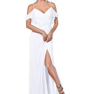 Chiffon long off the shoulder side slit dress